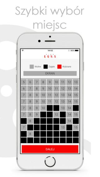 Aplikacja Kino Luna - Szybki wybór miejsc